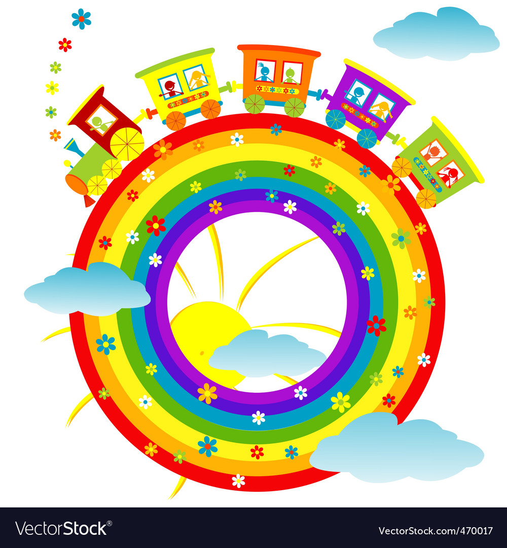 Rainbow toy train vector