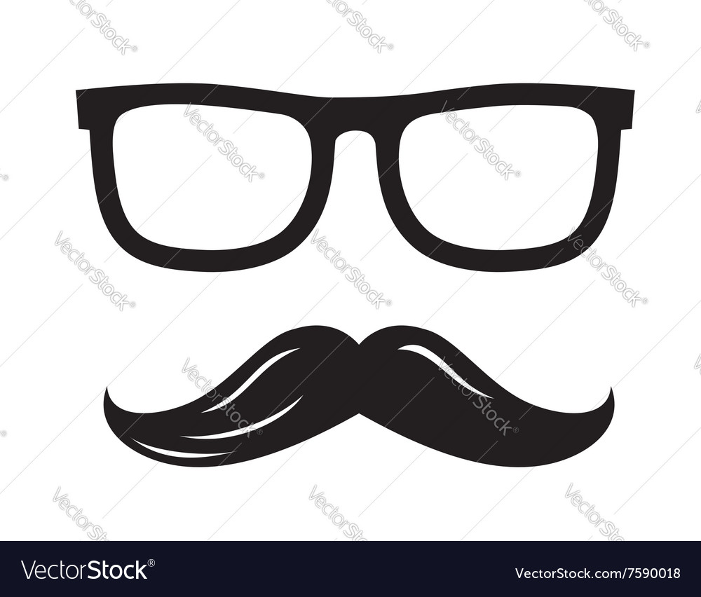 Black glasses and mustaches vector