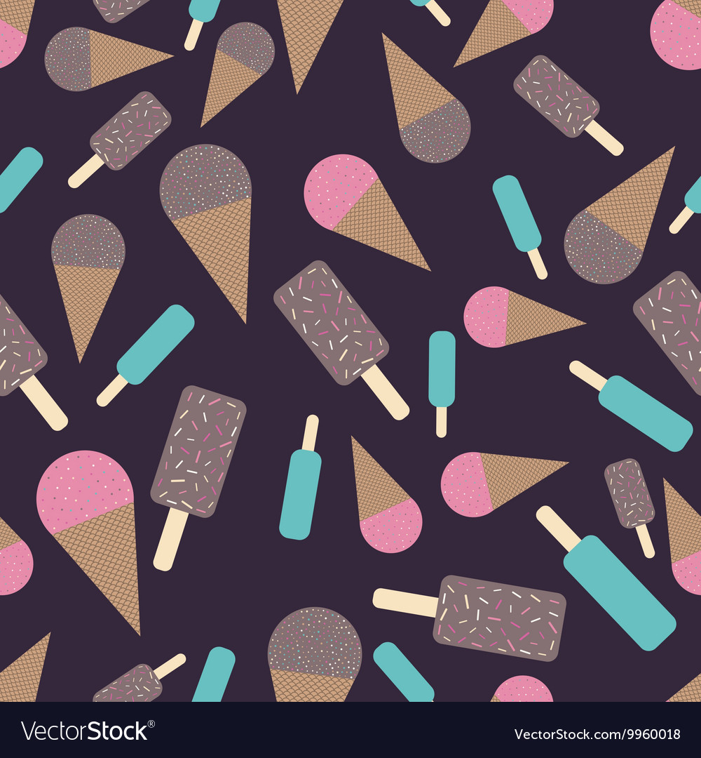 Chocolate and strawberry icecream seamless pattern vector