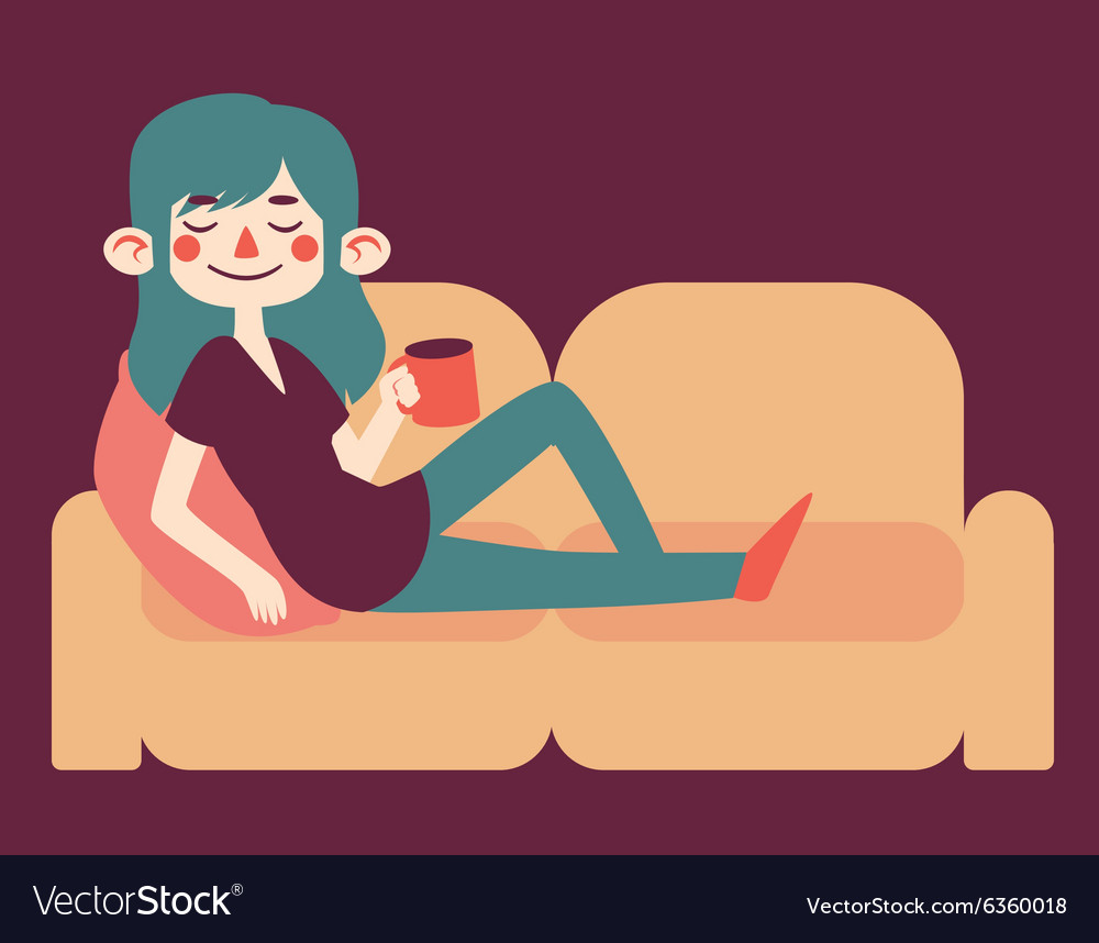 Cute girl relaxing on her sofa vector