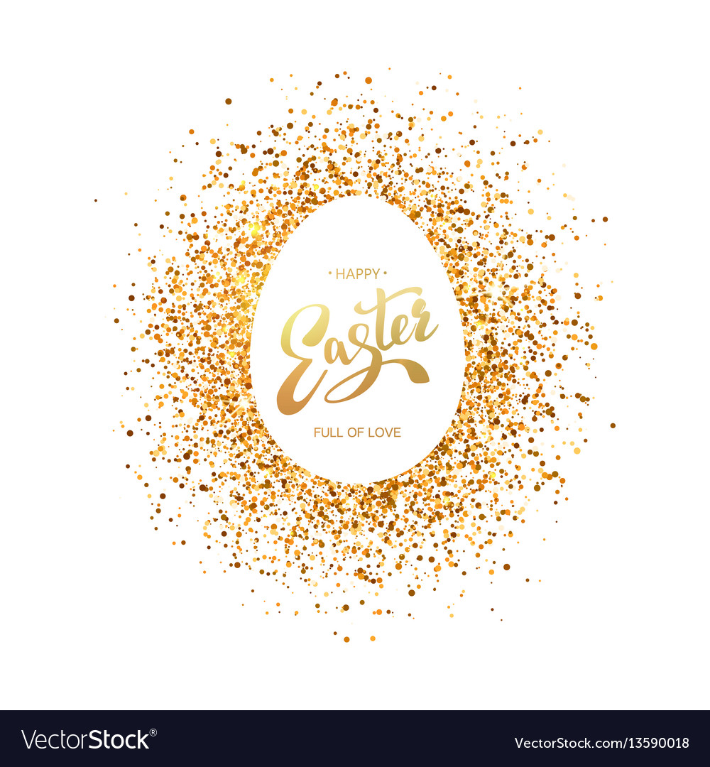 Easter symbol on glitter background vector