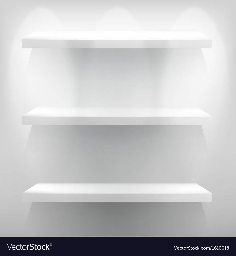 Empty white shelf for exhibit with light eps10 vector
