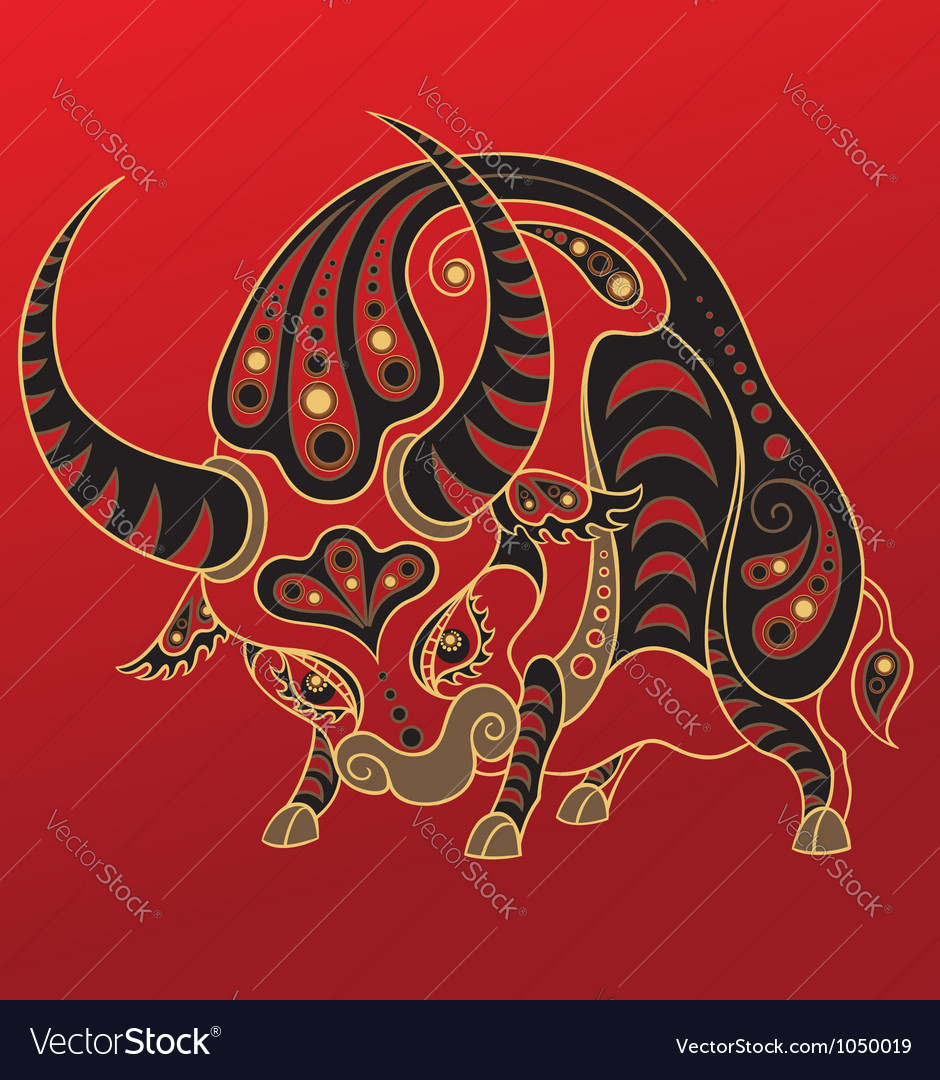 Chinese horoscope year of the ox vector