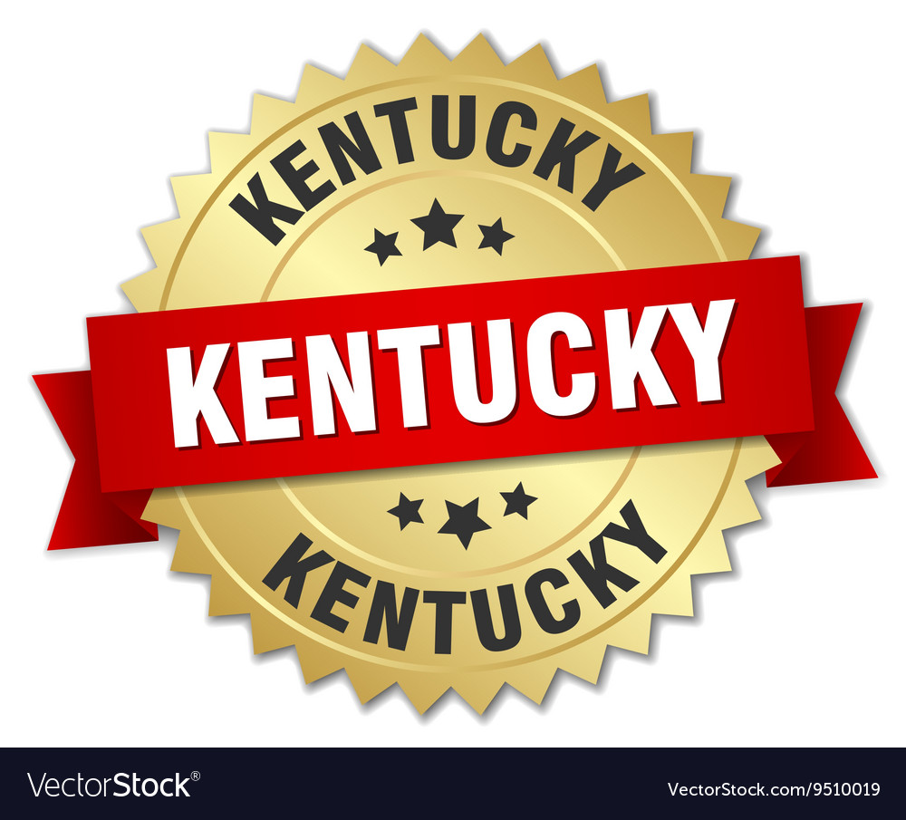 Kentucky round golden badge with red ribbon vector