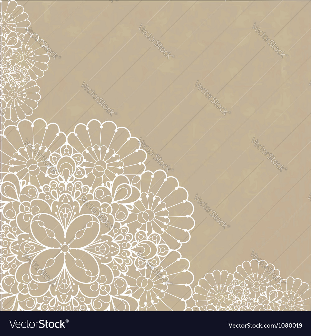 Retro background with lace ornament vector
