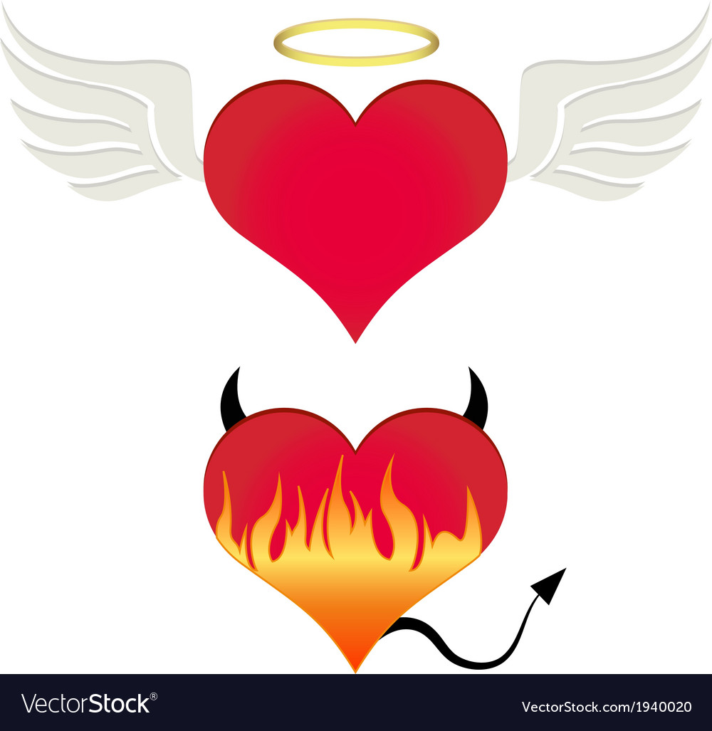 Angeldevil heart vector