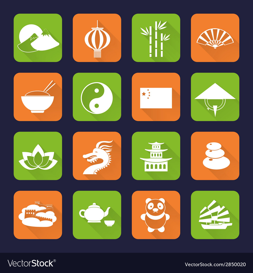China icons set flat vector
