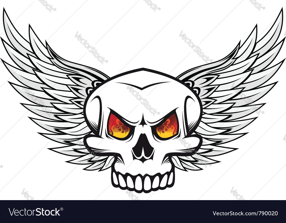 Skull with fire eyes and wings vector