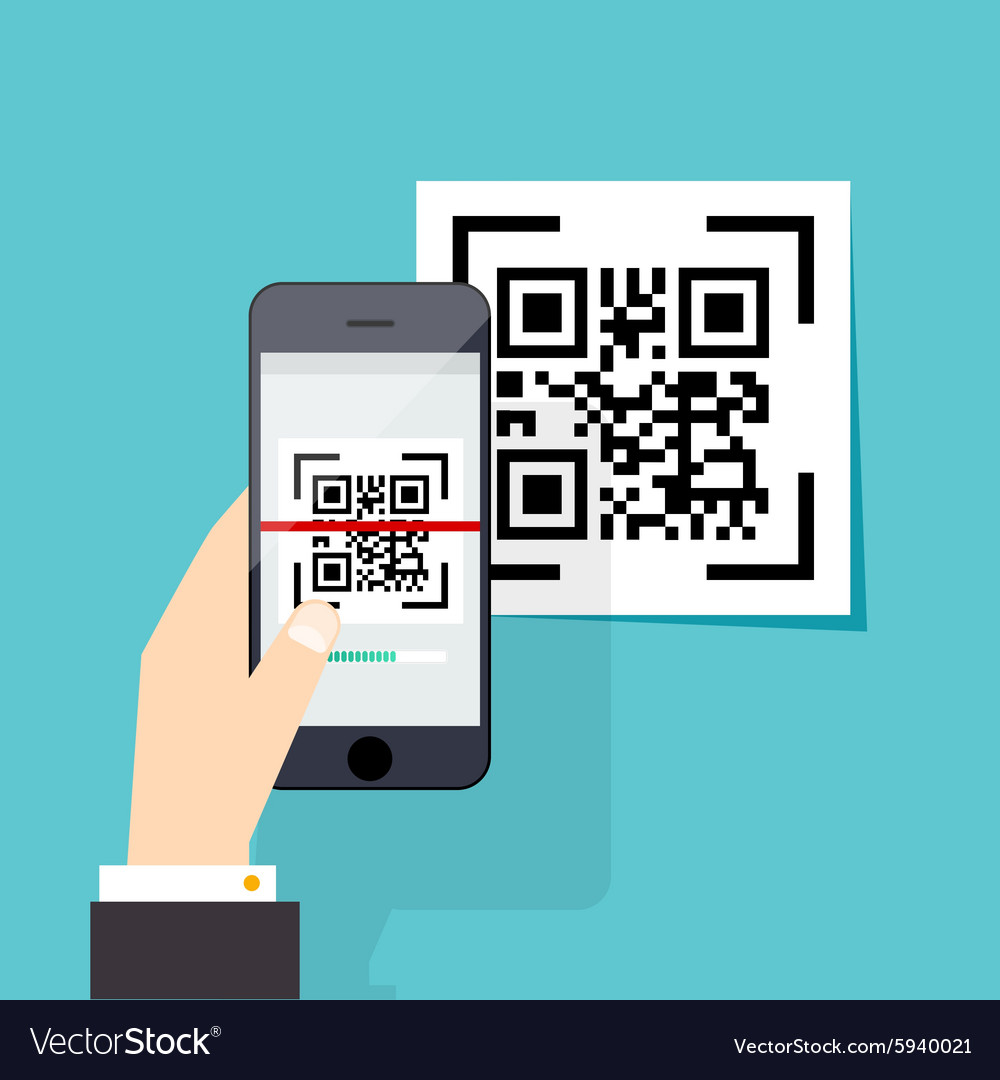 Scan qr code to mobile phone electronic scan vector