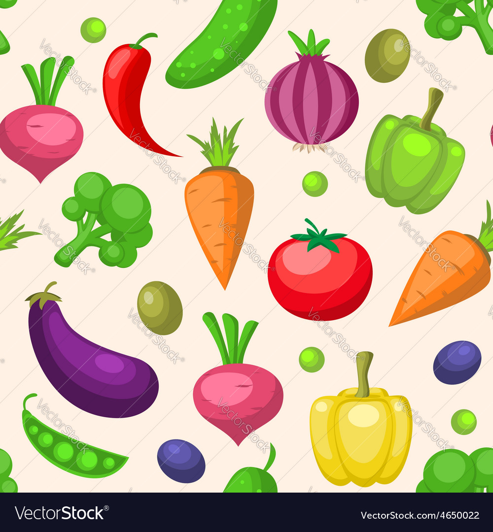 Decorative seamless pattern with vegetables vector