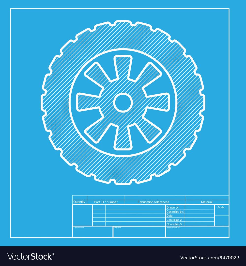 Road tire sign white section of icon on blueprint vector