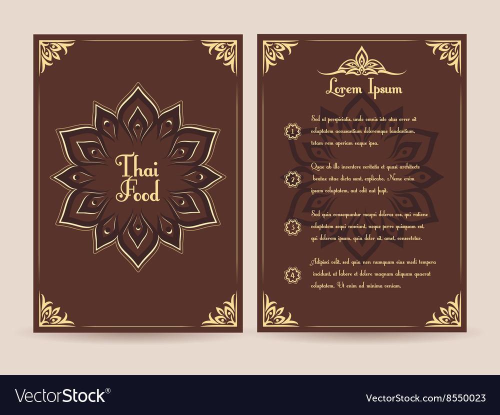 Thai food menu template vector
