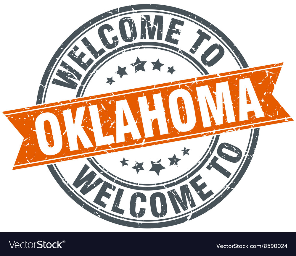 Welcome to oklahoma orange round ribbon stamp vector