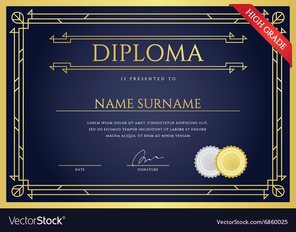 Diploma or certificate premium design template in vector