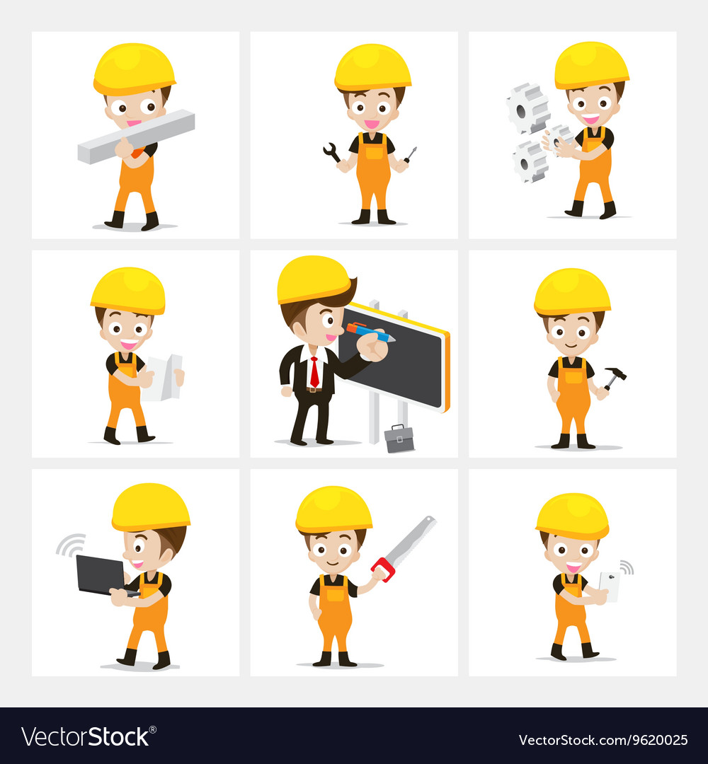 Set of 9 engineer and labor worker in difference vector