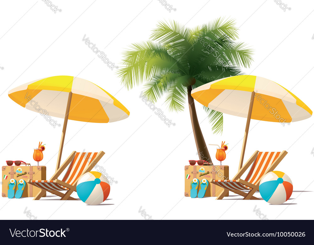 Travel and summer beach vacation relax icon vector