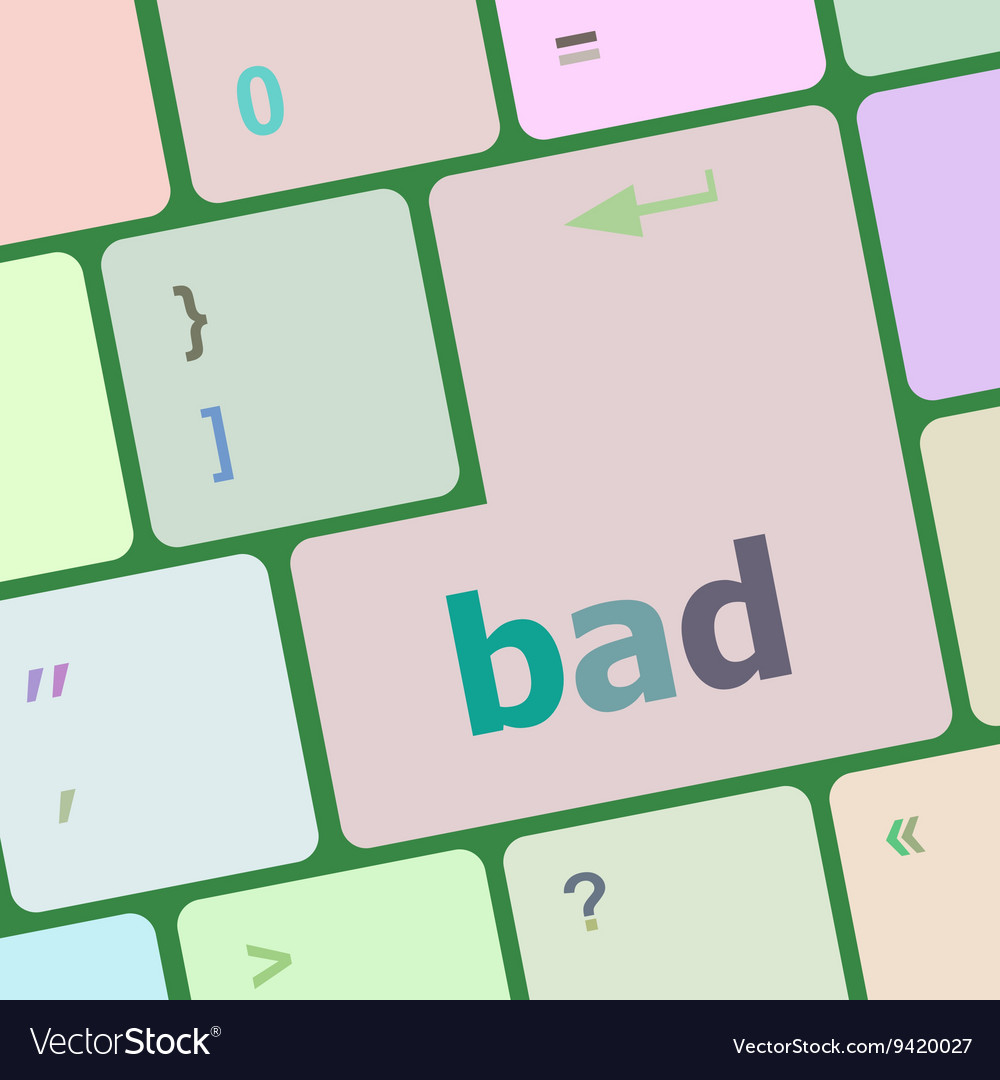 Bad word on white button keyboard vector