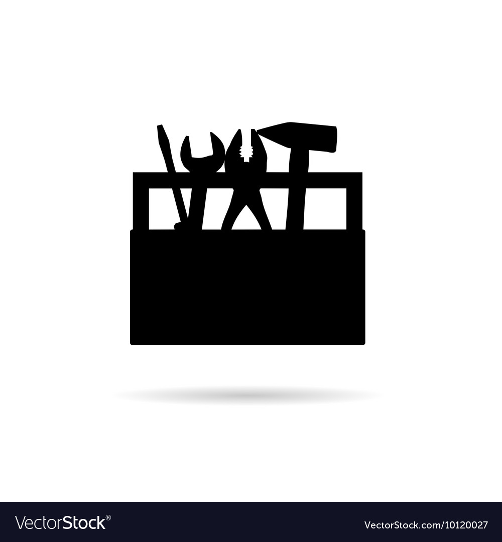 Tool box icon in black vector