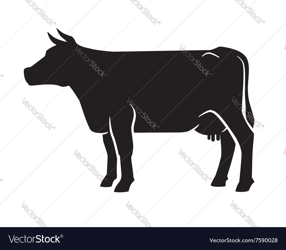 Black cow icon vector