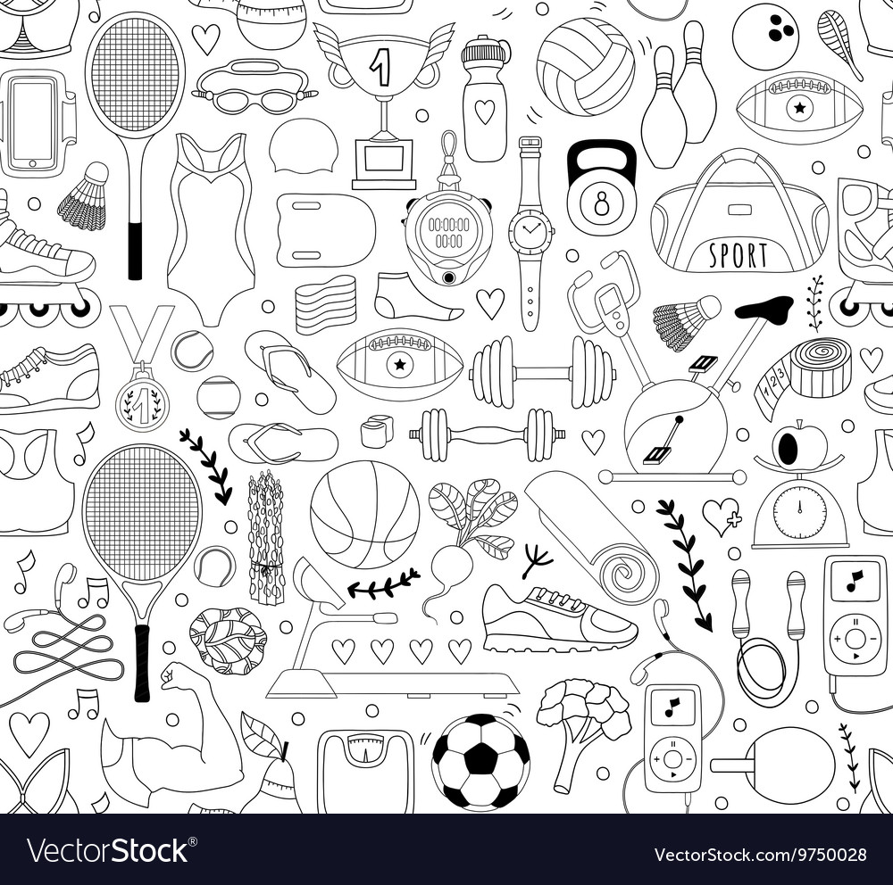 Doodle sports elements vector