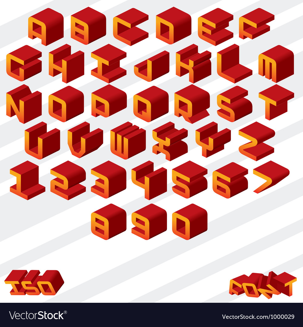 3d isometric alphabet vector