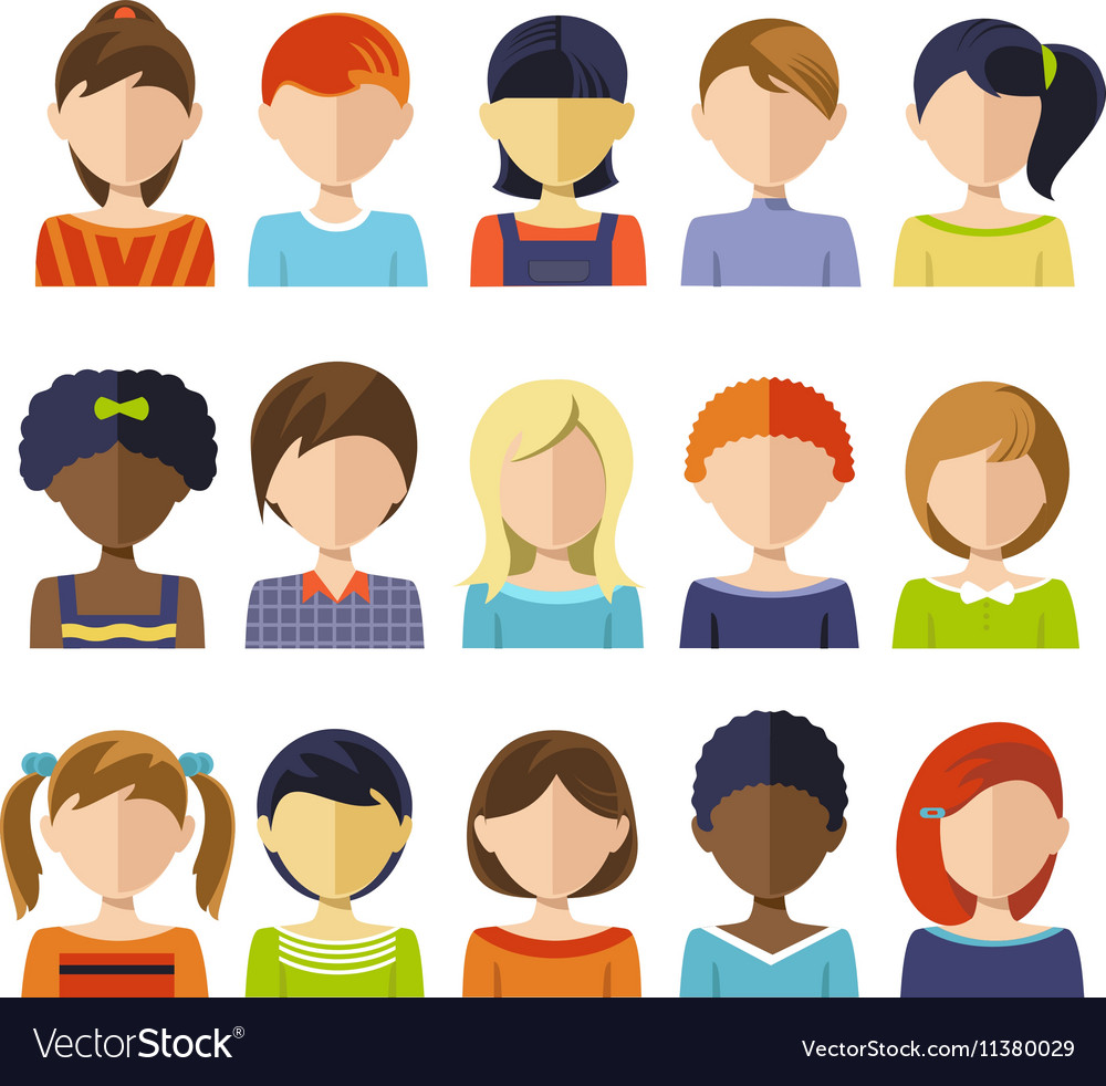 Flat children heads icon set vector
