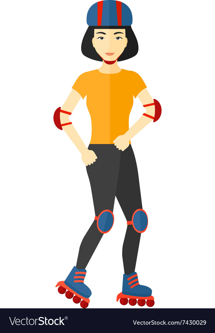 Sporty woman on rollerskates vector