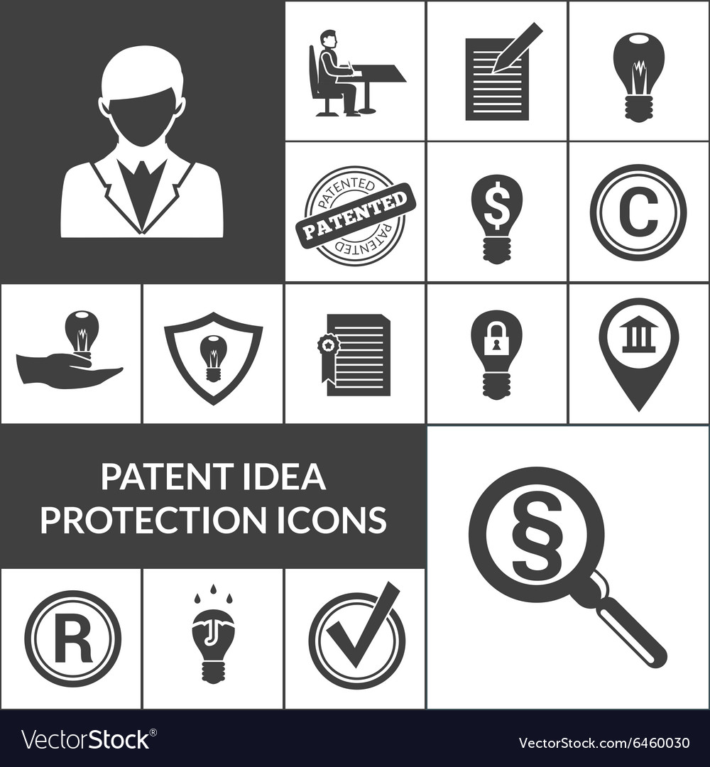 Patent idea protection icons black vector