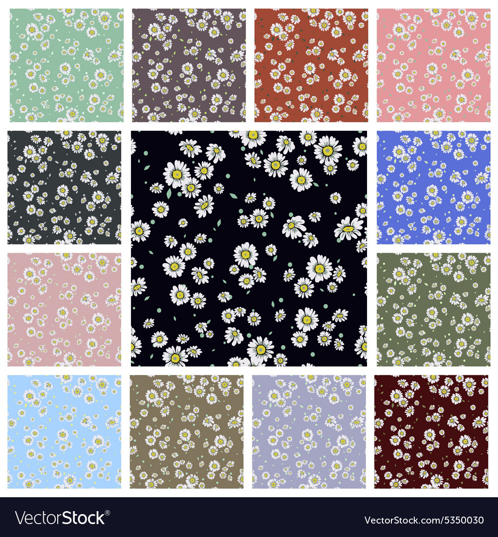 Seamless ditsy floral pattern set vector