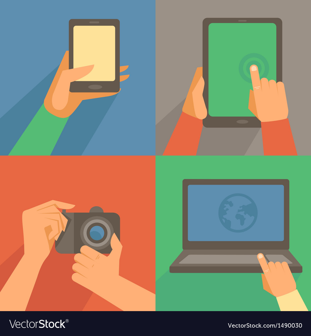 Set of flat icons  mobile phone laptop vector