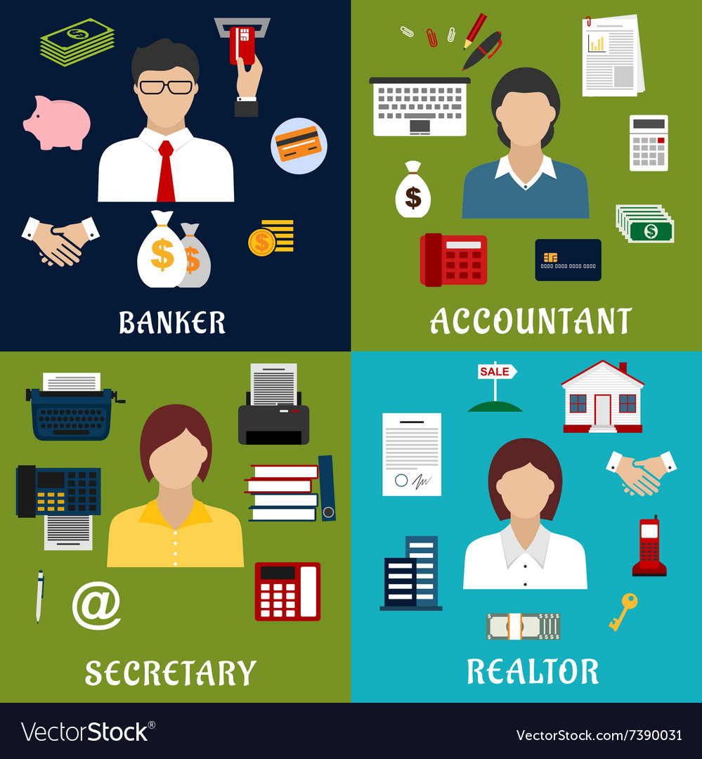 Banker accountant secretary and realtor icons vector