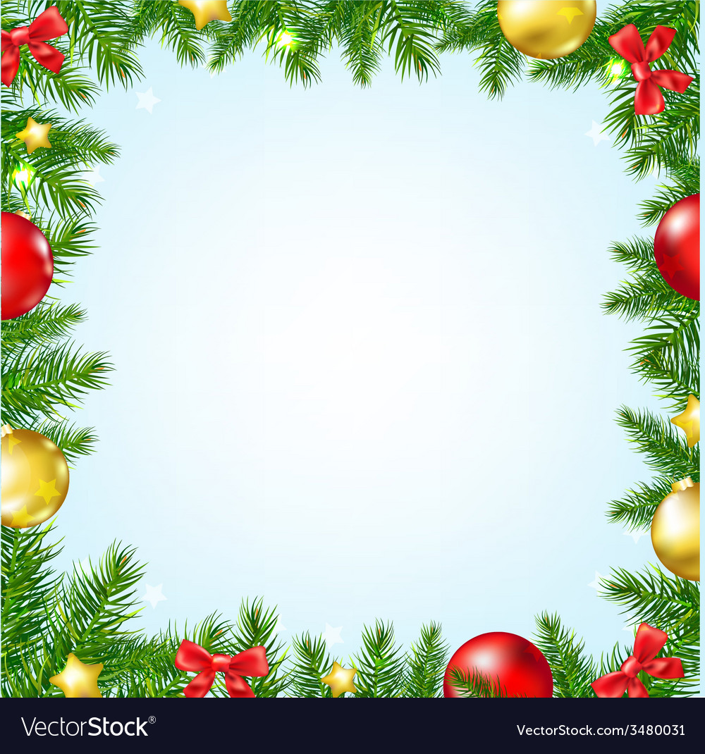 Christmas fir tree border with stars vector