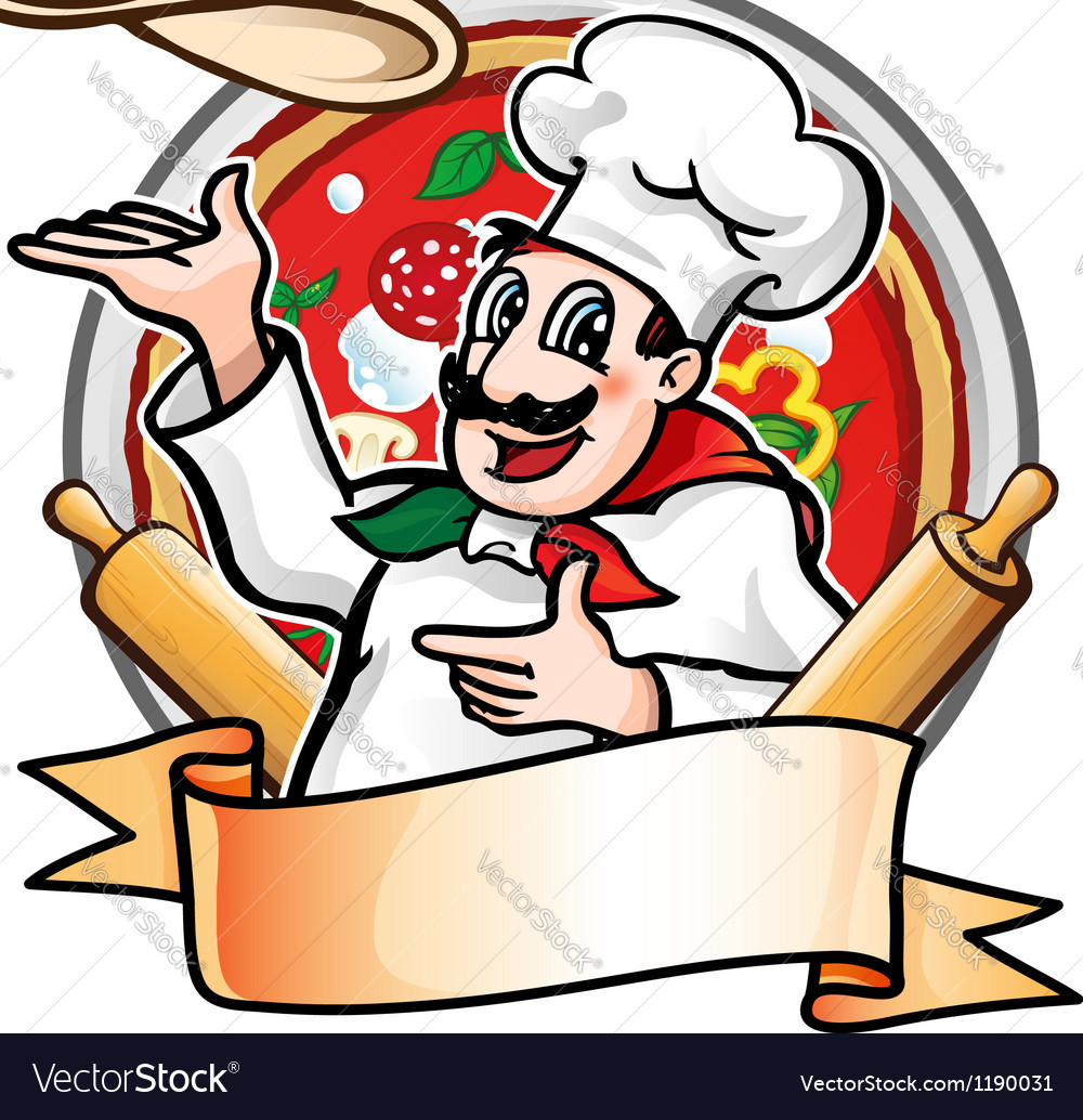 Cook throws the pizza vector