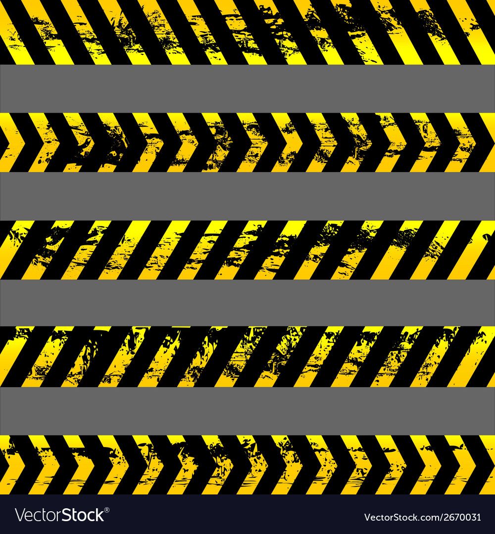 Set of grunge yellow caution tapes vector