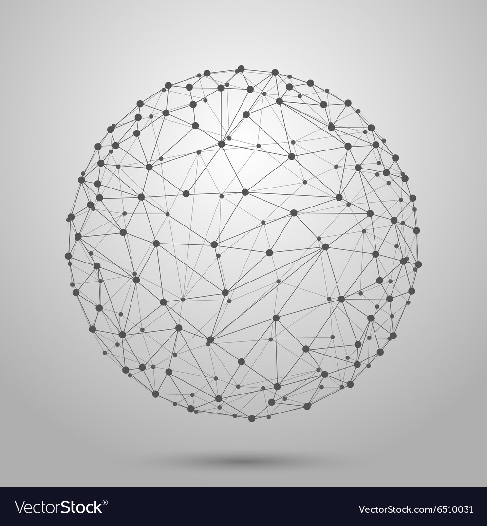 Wireframe 3d mesh polygonal sphere vector