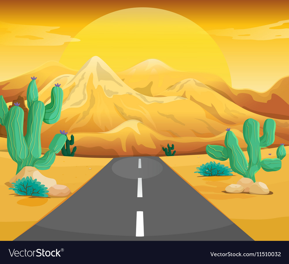 Scene with road in the desert vector