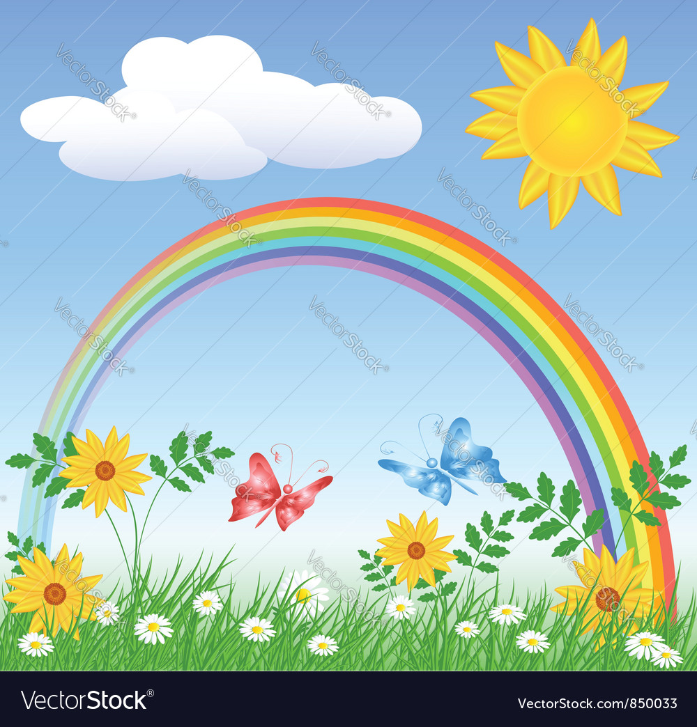 Rainbow spring meadows vector