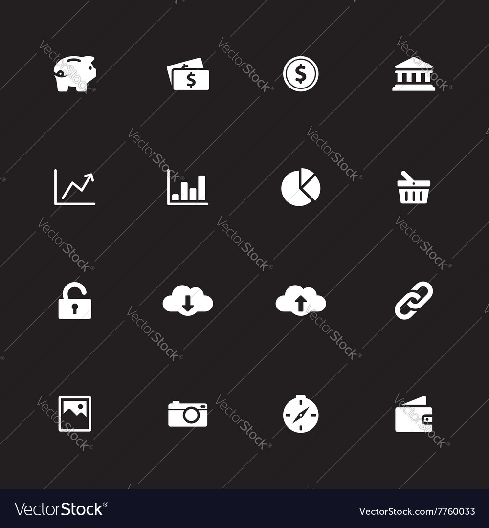 White simple flat icon set 4 vector