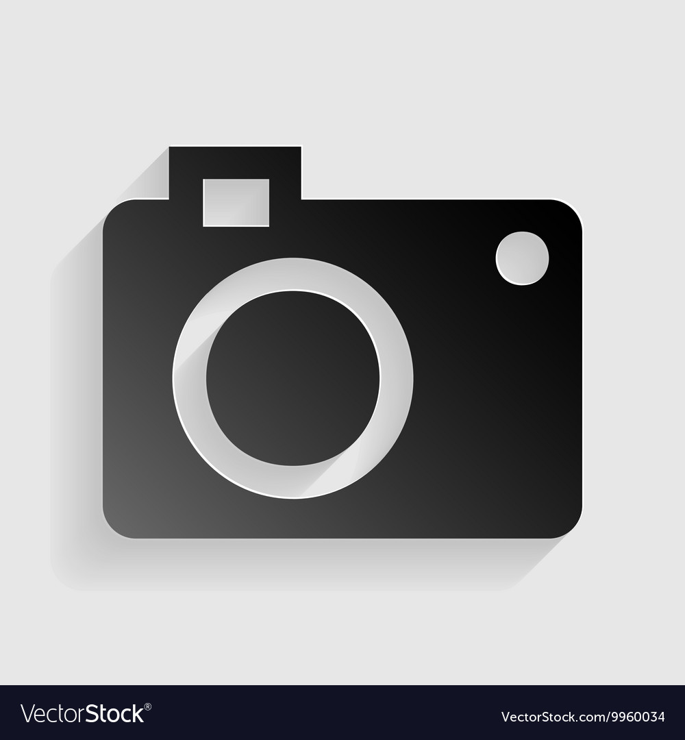 Digital camera sign black paper with shadow on vector