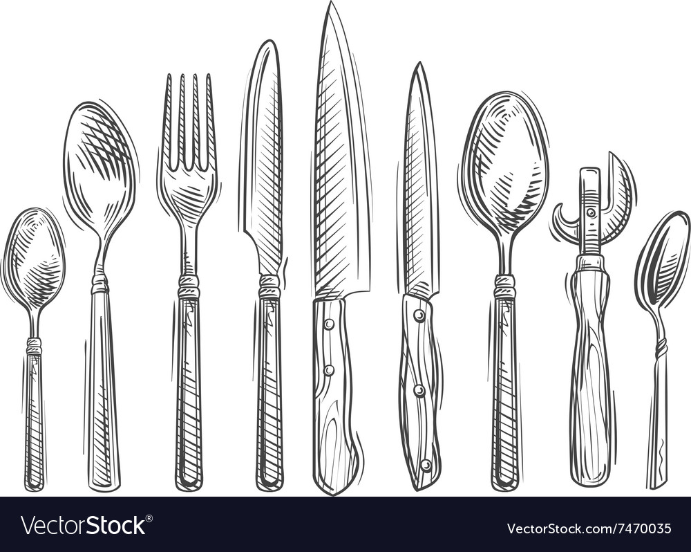 Cooking handdrawn set of kitchen tools  spoon vector