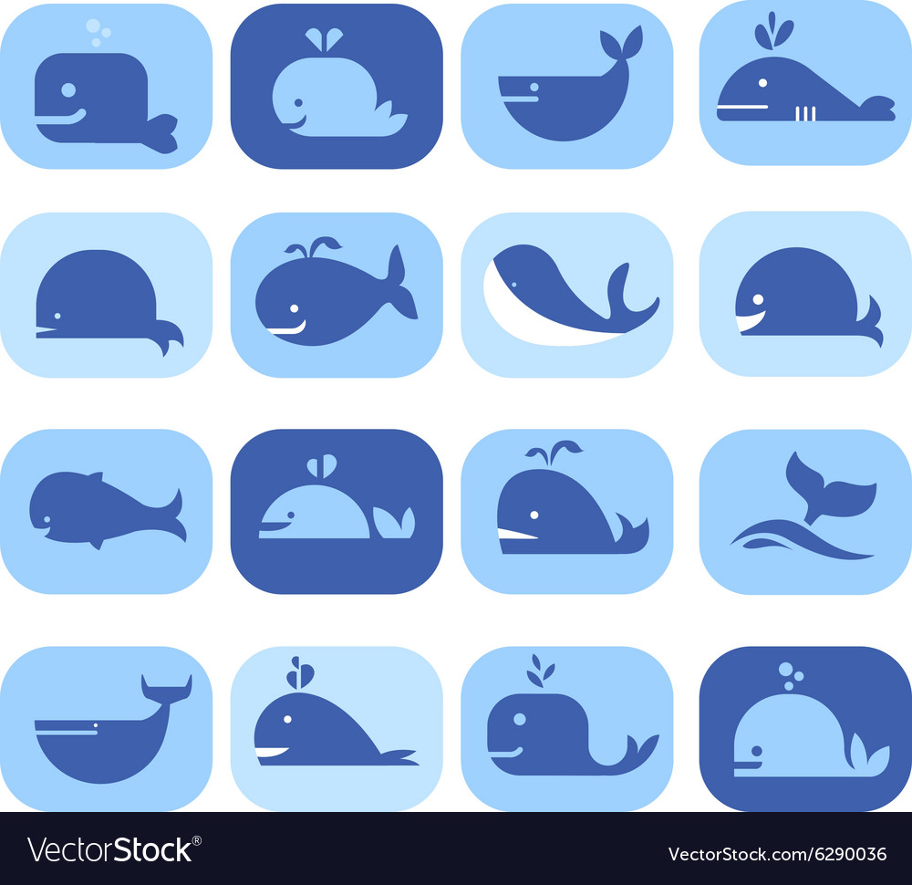 Set of silhouettes dolphins whales in flat vector