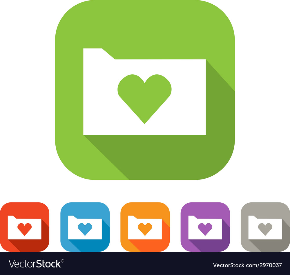 Color set of flat folder with heart vector