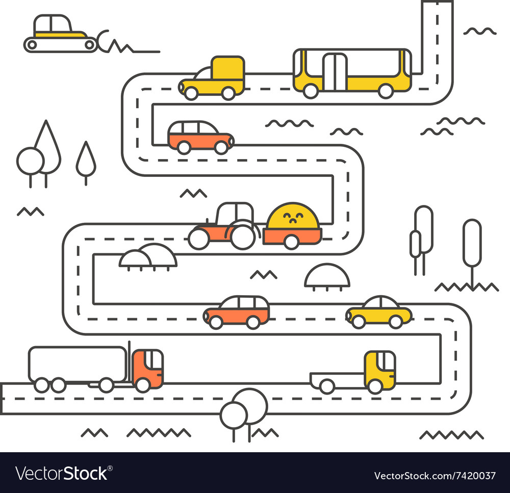 Different vehicle on a road vector