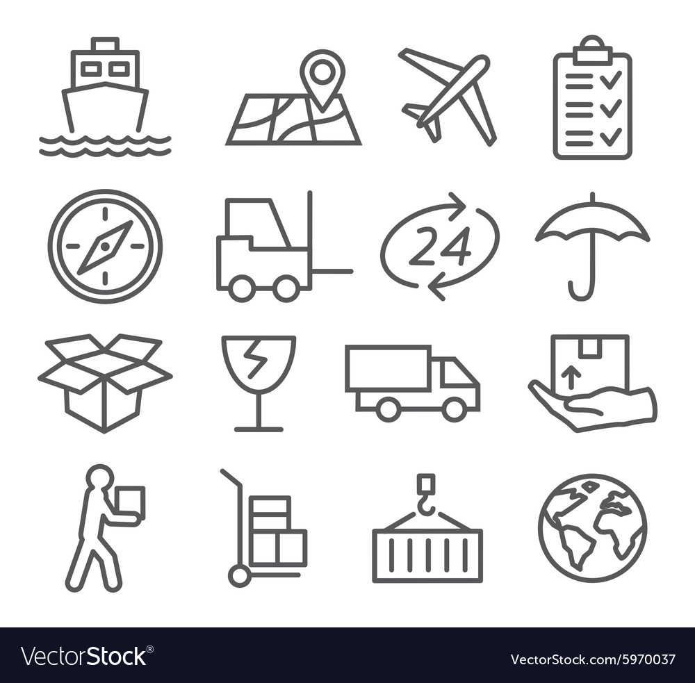 Logistic and delivery line icons vector