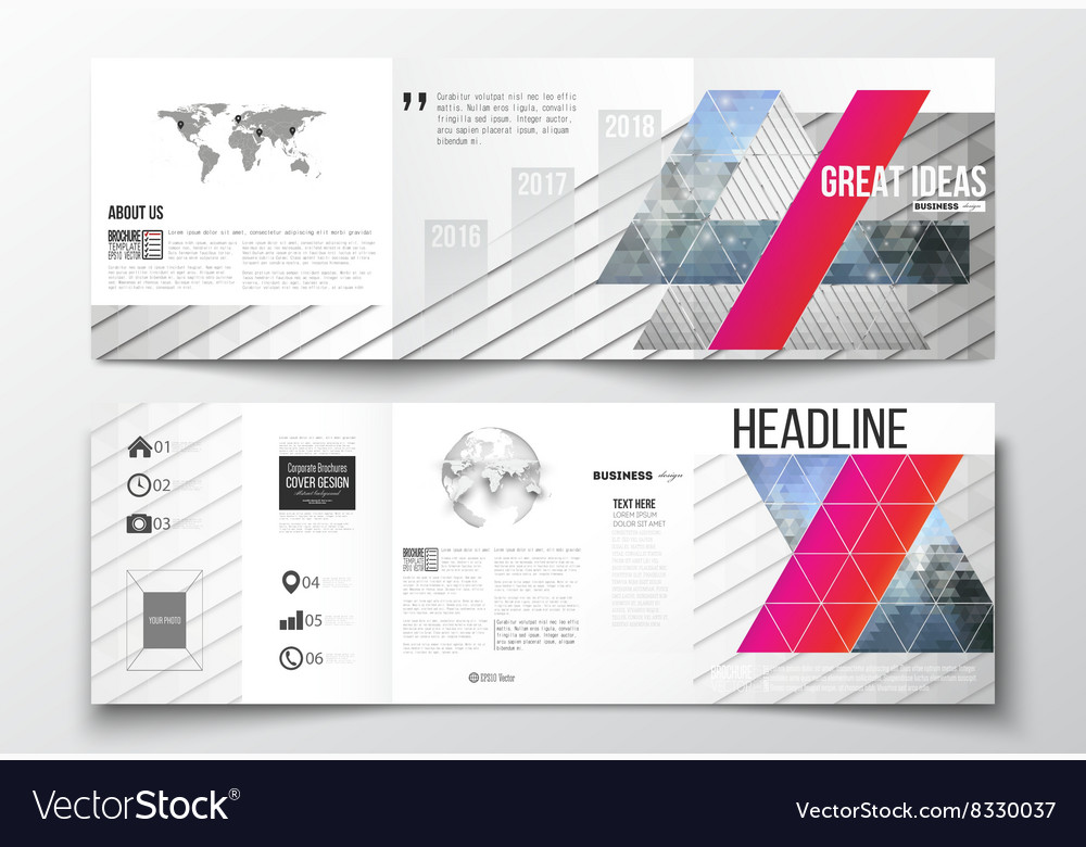 Set of trifold brochures square design vector