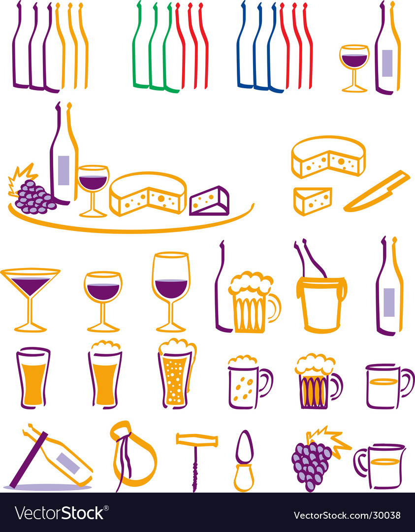 Drink and food icons vector