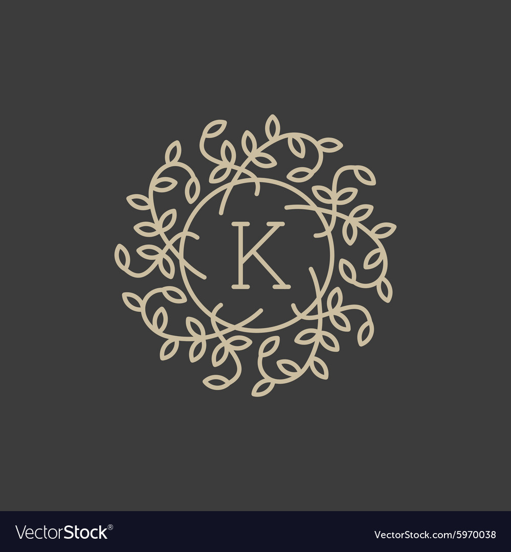 Floral monogram design template with letter k vector