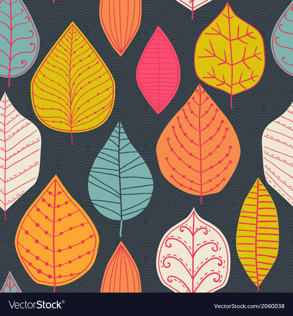 Seamless abstract handdrawn pattern leaf backdrop vector