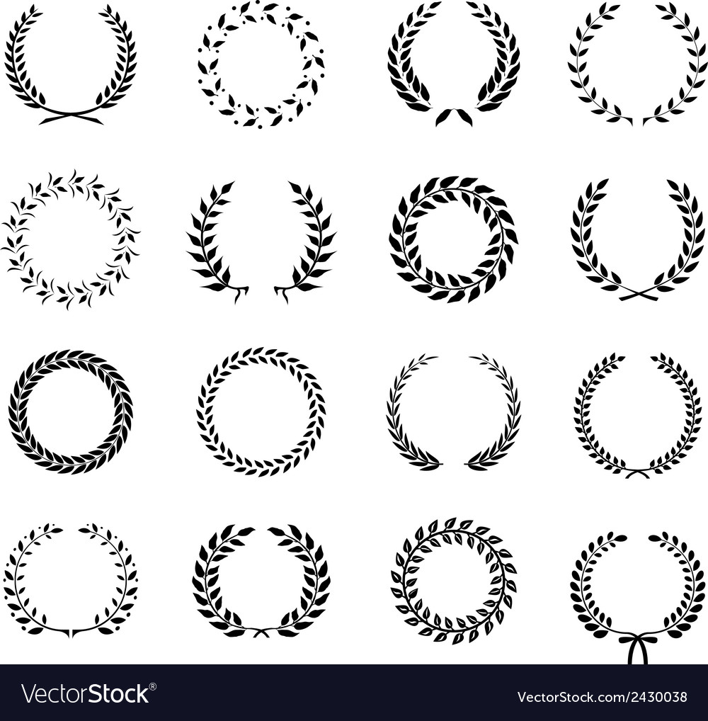 Set of laurel foliate and wheat wreaths vector