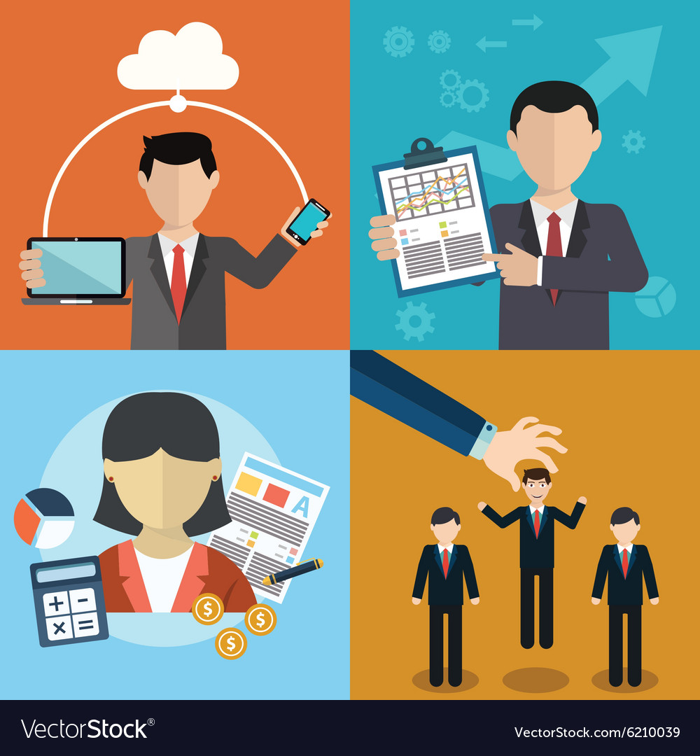 Collection of flat and colorful business human vector